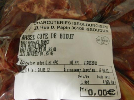 Boeuf servi le vendredi 30 mars 2012