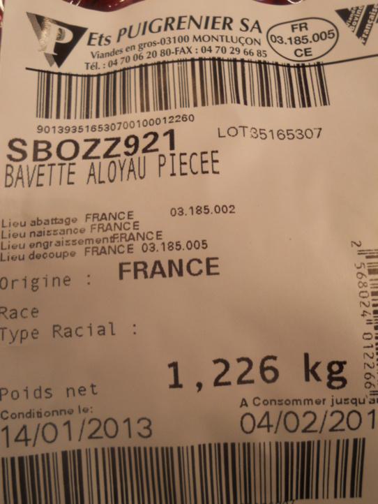 Bavette servi le jeudi 17 janvier 2013