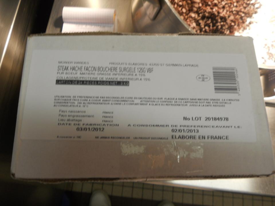 bavette et steak haché servis le jeudi 3 février 2012